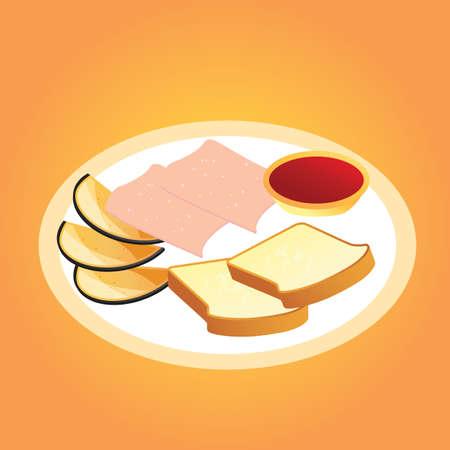 ハムとパンのスライス