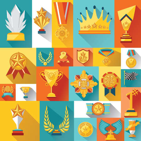 collection of trophies and medals Ilustracja