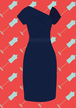 Blauwe elegante moderne jurk Stockfoto - 81537681