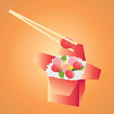 テイクアウト ボックスでご飯とソーセージ  イラスト・ベクター素材