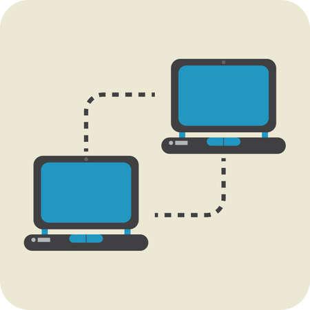 transfert de données d'un ordinateur à un ordinateur portable Vecteurs