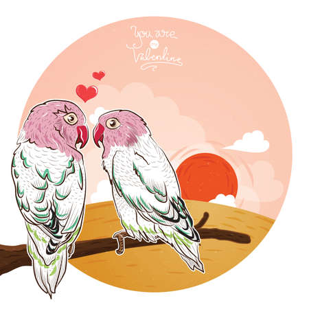 love birds perched on branch Illustration