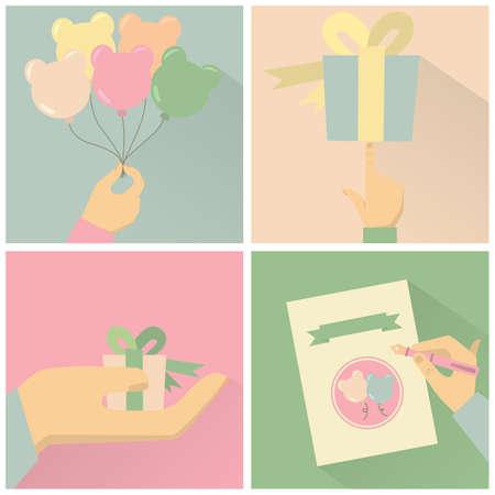 set of greeting cards Ilustração