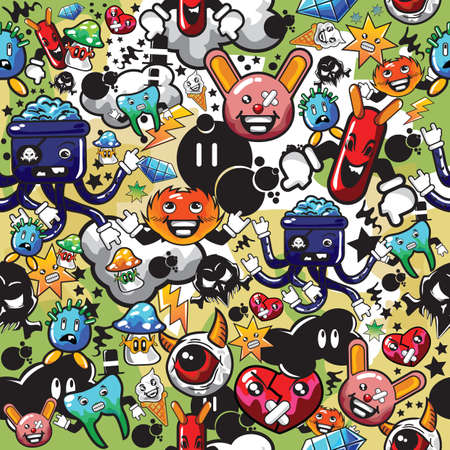 various cartoon characters background Illustration