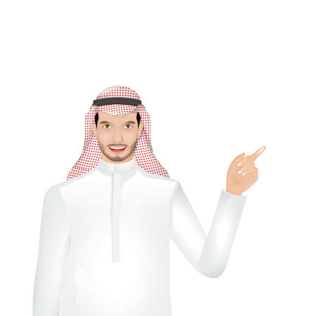 man pointing: middle eastern man pointing to the right