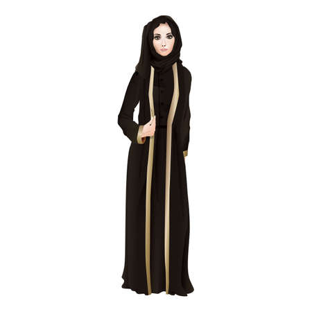 arabian woman in long black dress