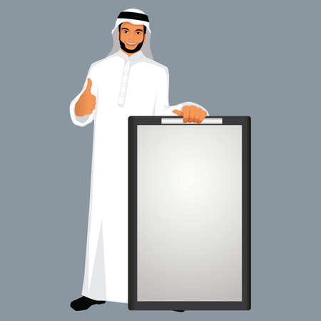 man holding a blank sign: middle eastern man holding a board with a thumbs up signal Illustration