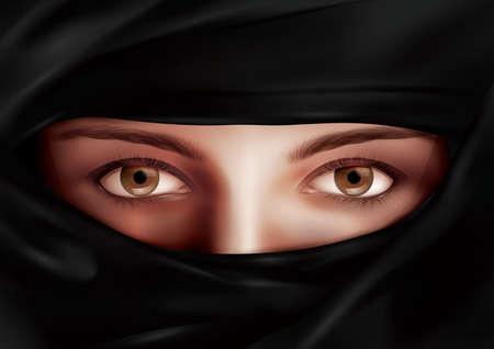 niqab: Arabic woman in niqab Illustration