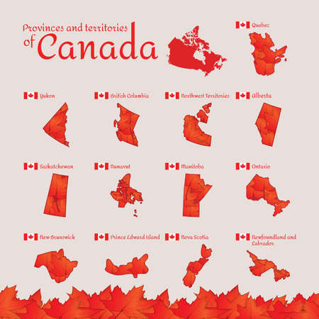 Set of canada provinces and territories icons Illustration