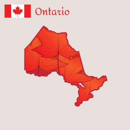 オンタリオ州、カナダの地図  イラスト・ベクター素材