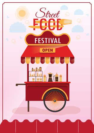 Straatvoedsel festival posterontwerp Stock Illustratie