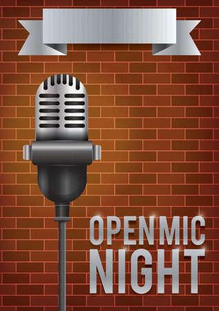 Diseño de cartel nocturno abierto de micrófono