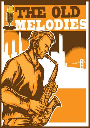 The old melodies poster design Illustration