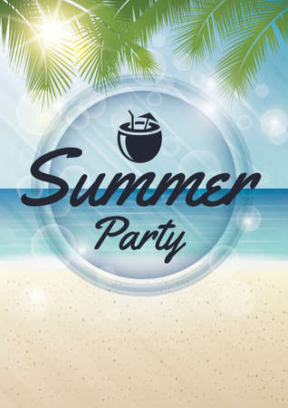 Summer party poster design Illustration