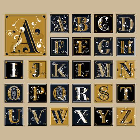 Set of alphabet icons