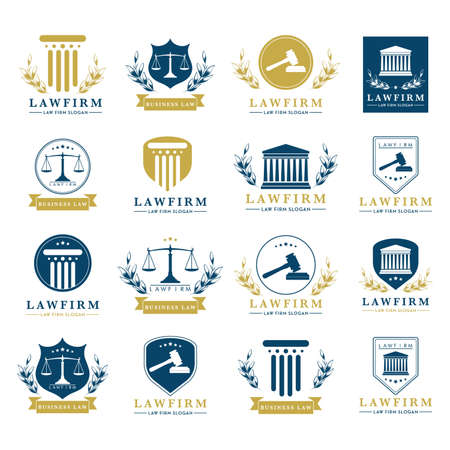 set of law firm design icons 向量圖像