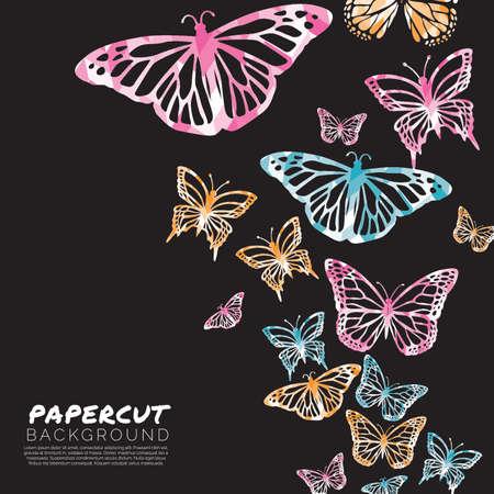 蝶 papercut 背景デザイン