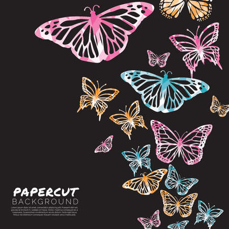 butterfly papercut background design Ilustrace