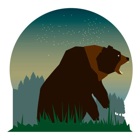 fiercely: Bear cartoon growling fiercely