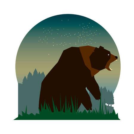 bear growling fiercely Ilustrace