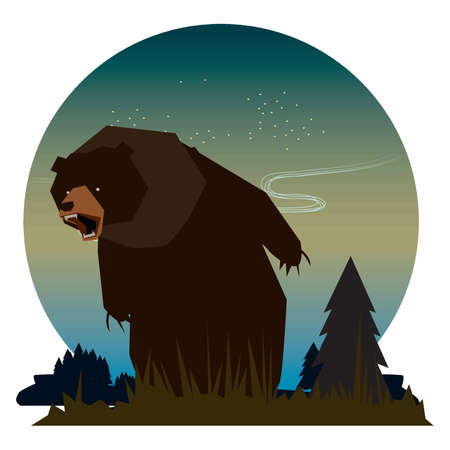 bear cartoon growling angrily Ilustrace