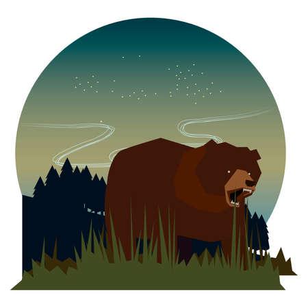 bear cartoon growling fiercely