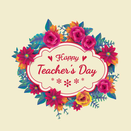 Happy teachers day card design Illustration