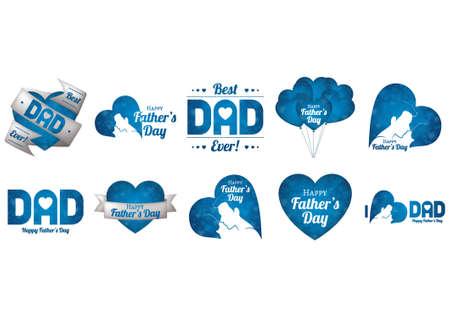 set van vaderdag iconen Stock Illustratie