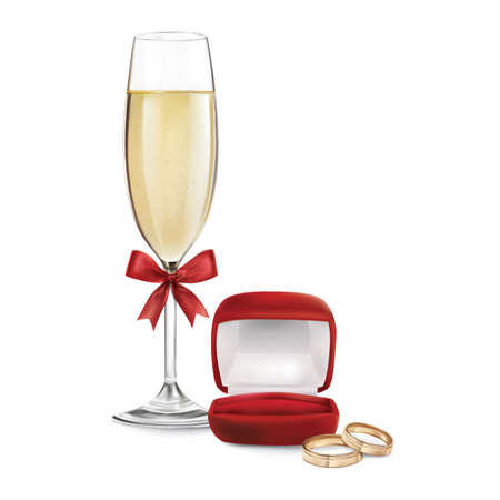 set of wedding items Illustration