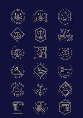 impartiality: set of law design icons
