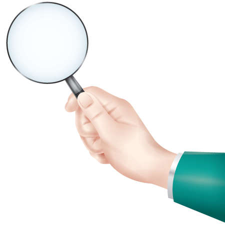hand holding a magnifying glass Illustration