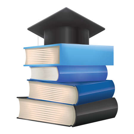 graduation hat on stack of books