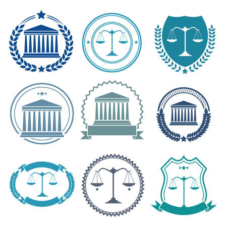 courthouse: collection of law badge designs Illustration