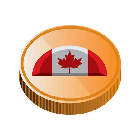 canada flag on gold coin design