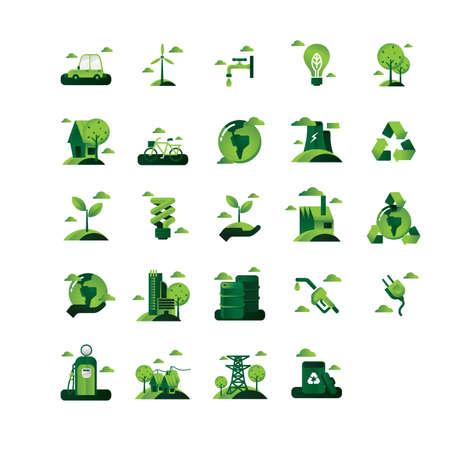 environmental awareness: Set of go green icons Illustration