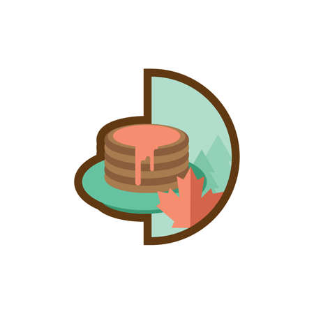 maple syrup drizzled on pancakes Illustration