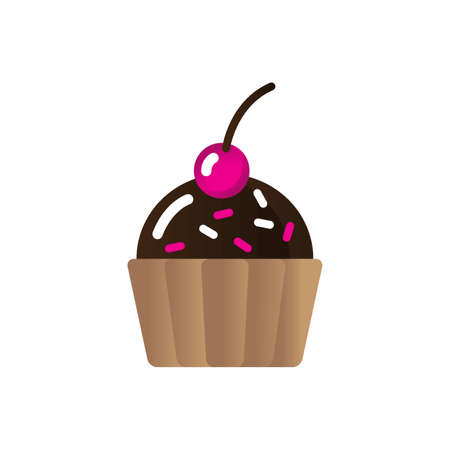 cupcake with sprinkles and cherry toppings