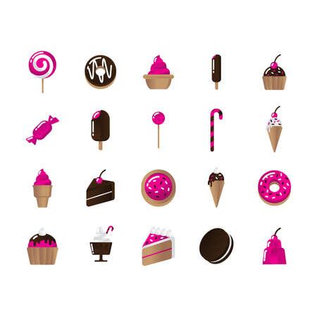 set of dessert icons Illustration