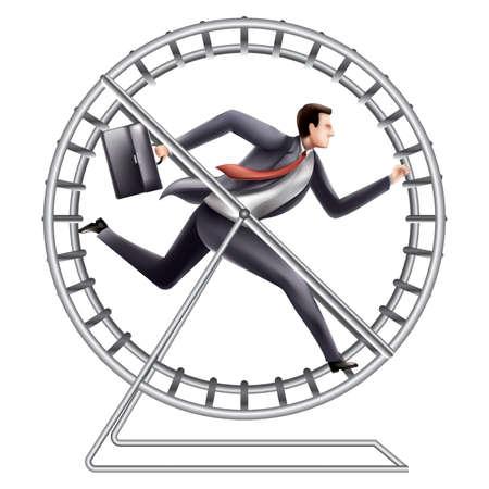 zakelijke vooruitgang op een loopwielconcept Vector Illustratie