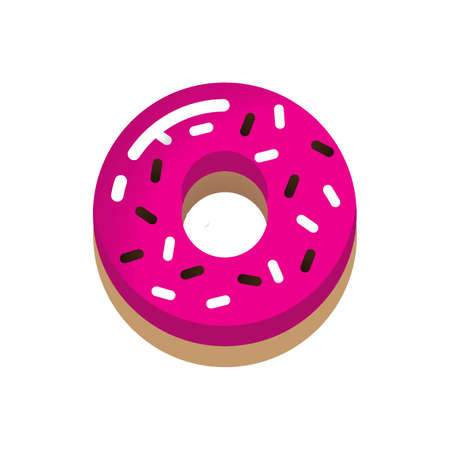 donut coated with cream and sprinkles Illustration