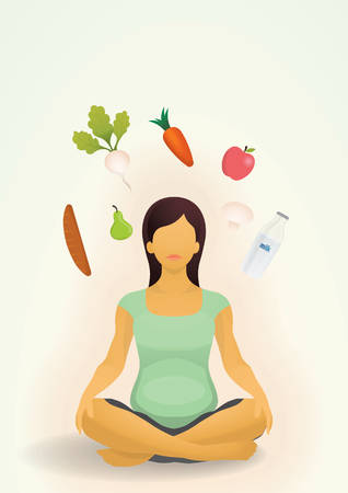 Pregnant woman with nutritional food design Illustration