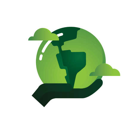environmental awareness: Hand holding green earth