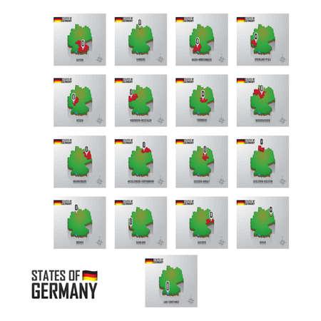 Set of Germany states icons Illustration