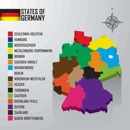 states of germany map Ilustração