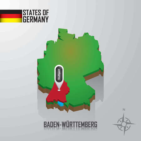 reference point: map of baden-wurttemberg, germany Illustration