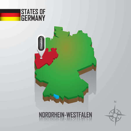 map of nordrhein-westfalen, germany