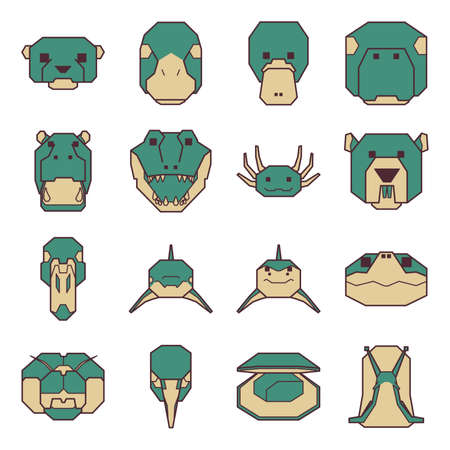 collection of geometrical animals