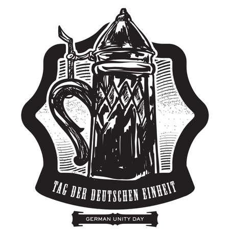 beer stein: German unity day label design Illustration
