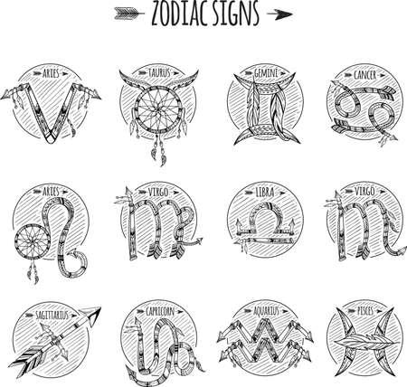 tribal aquarius: set of horoscope icons Illustration