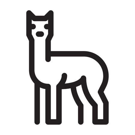 Llama on a white background Vettoriali